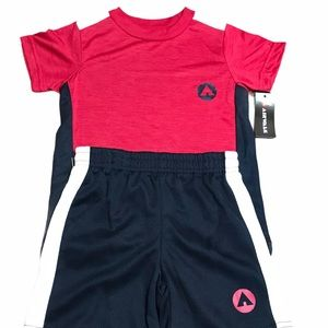 Airwalk 2 Piece Short Set - Red, White, Navy -  3T
